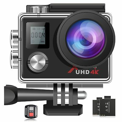 """Campark ACT76 4K Sport Action Camera 16MP Wifi 2"""" LCD Dual Display 2Batteries UK"""