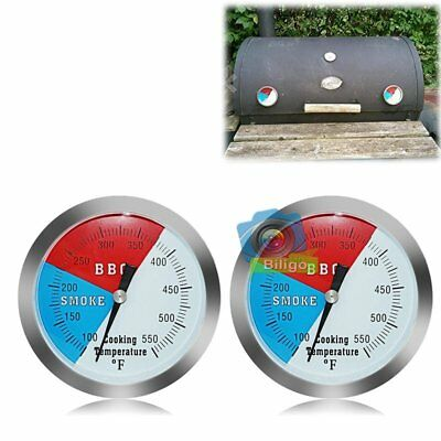 2Pcs Stainless Steel Barbecue BBQ Smoker Grill Gauge Oven Thermometer 100-550℉