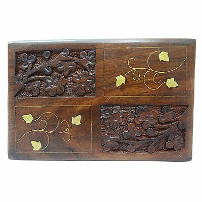 Vintage Style Small Box Storage Antique Engraved Trunk Wood Craft Indian Art