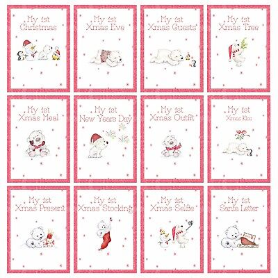 My First 1st Christmas: New Baby Milestone Cards Xmas Gift Baby Shower