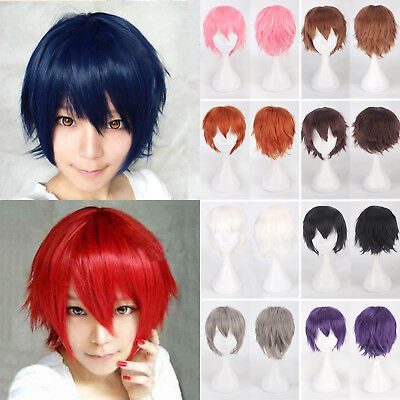 Anime Short Wig Cosplay Party Straight Hair Cosplay Full Wigs + Cap Mens Womens