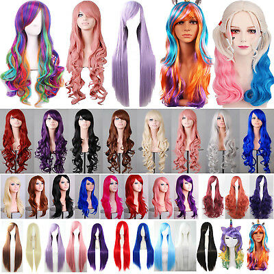 Curly Wavy Straight Wigs Fancy Anime Womens Cosplay Costume Party Hair Full Wig