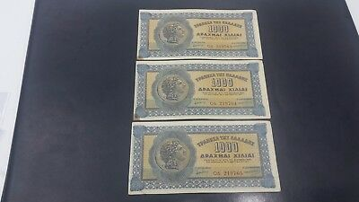 Greece 1000   Drachmai Banknote 1941  Consecutive Numbers