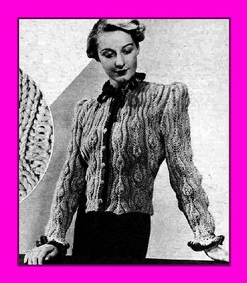 Reproduction 1930s knitting pattern; Finella - Textured ruffled lace cardigan