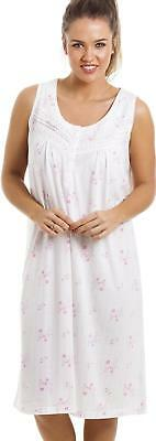 161613d658 Camille Womens Nightwear Soft Cosy Knee Length Sleeveless Pink Floral  Nightdress