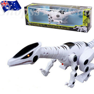Cool Electric Walking Dinosaur Toy Robot with Sound Light Moving Kids Xmas Gifts