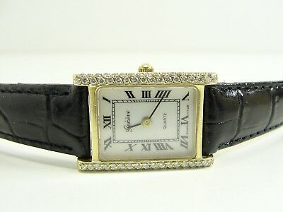 GENEVE TANK DAMENUHR 70 BRILLANTEN 585/14kt. GOLD LADIES WATCH MONTRE OROLOGIO