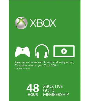 Xbox Live Trial Gold 48 Hours 2 Days Membership for Xbox One / 360 Instant