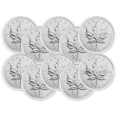Lot of 10 x 1 oz 2016 Canadian Maple Leaf Bigfoot Privy Reverse Proof Silver Coi