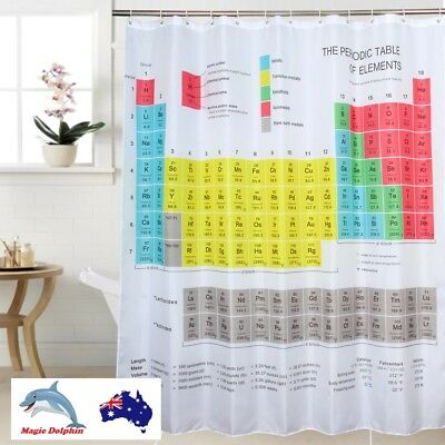 Shower Curtain Periodic Table of Elements Big Bang Theory Fabric Hooks included