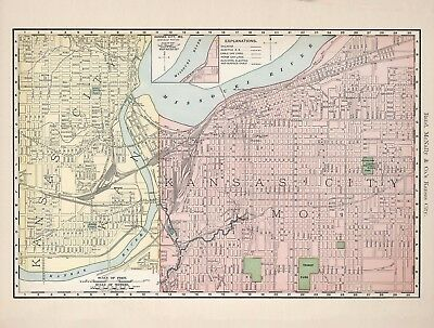 Vintage Old Antique decorative Kansas City Map Rand McNally 1893 paper or canvas