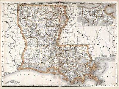 Vintage Old Antique decorative Louisiana Map Rand McNally 1892 paper or canvas