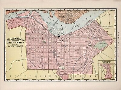 Vintage Old Antique decorative Louisville Map Rand McNally 1892 paper or canvas