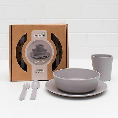 BoBo and Boo Bamboo 5 Piece Dinner Set for Babies and Children - Pebble Grey