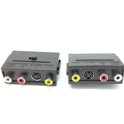 Premium RGB Scart to 3 RCA Phono +S-Video Audio In / Out Switch AV TV Adaptor SX