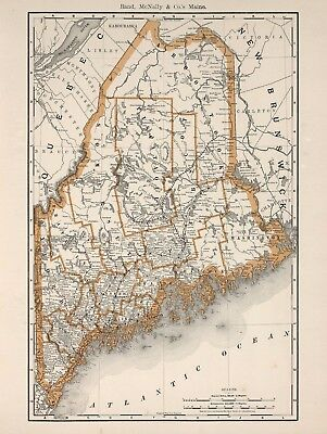 Vintage Old Antique decorative Maine Map Rand McNally 1893 paper or canvas