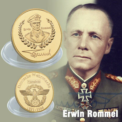 WR World War II Famous General Erwin Rommel Gold Plated Challenge Coin Keepsake