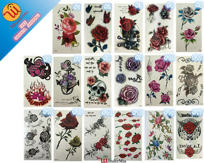 Temporary Waterproof Removable Fake Body Art Tattoo Sticker (17-Design Roses) CA