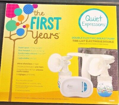 The First Years Electric Portable Double Breast Pump Quiet Expressions Tomy new!