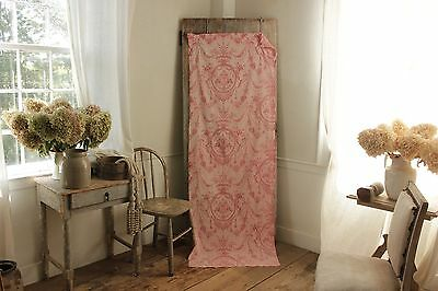 Antique Toile de Jouy fabric pink material 19th century pink red