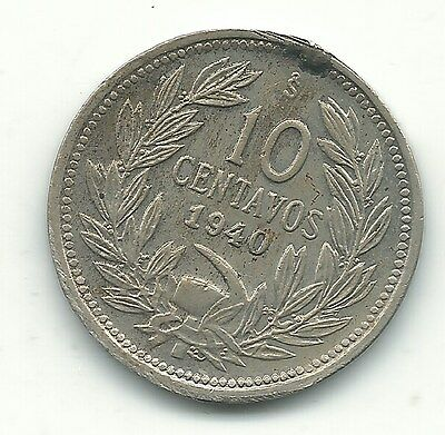 A High Grade Au 1940 Chile 10 Centavos Coin-Defiant Condor On Rock-Jun203