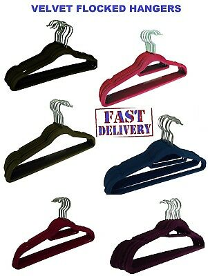 NON SLIP FLOCKED COAT CLOTHES HANGERS VELVET TROUSER HANGING SPACE SAVING New