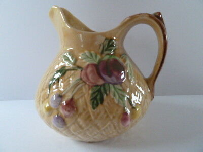 SHORTER VINTAGE WATER or MILK JUG--FRUIT pattern ---15 CMS TALL