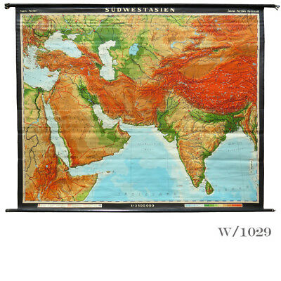 Vintage Giant Wall Map of South West Asia
