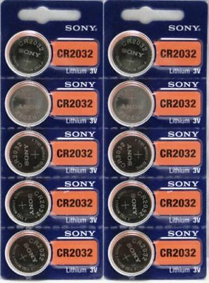 Sony Genuine Fresh Date CR2032 2032 Lithium 3V Batteries Exp 2027 (10 pieces)