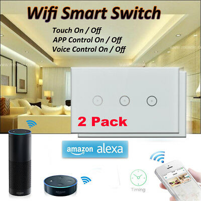 2pack 3Gang Wifi Smart Wall Light Switch Touch Panel Remote Control Amazon Alexa