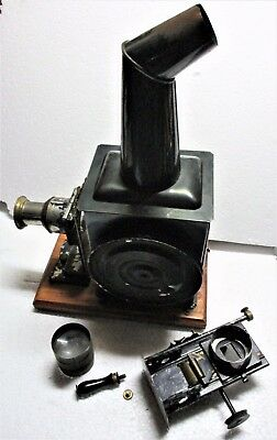 Ernst Plank German Magic Lantern In Orig Box W 12 Near Mint Glass Slides
