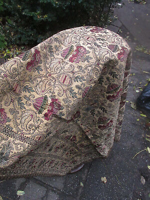 """Brocade Tablecloth Netherland Dutch very old with metal trim      45"""" x 50"""""""