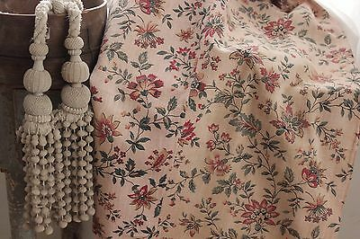 Antique French floral linen c 1870 faded floral material fabric STUNNING