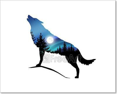 Howling Wolf With Moonlight. Art Print Home Decor Wall Art Poster - C