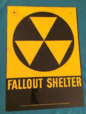 """Fallout Shelter Sign Vintage Original 1960's Department of Defense 10"""" x 14"""""""
