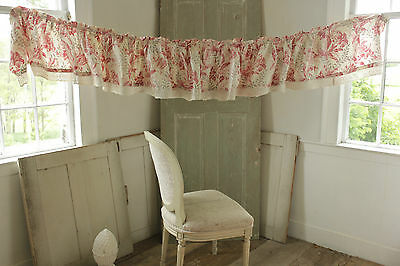 Antique French printed cotton ruffle valance w/ lace fabric c1860 re-worked ~
