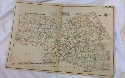 1898 White Plains NY Wards 3 & 5 Plate 5 Map Atlas Plan Of The Land Linen