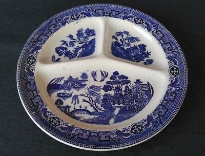 Vintage Blue Willow Divided Plate Societe Ceramique Maestricht Made In Holland