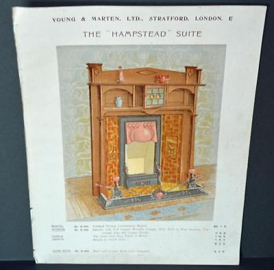 Vintage Architectural Advert ' Young and Marten Stratford ' Hampstead Fireplace.