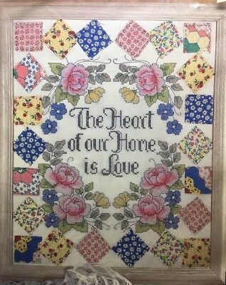 Design Works The HEART of the HOME is LOVE Stamped Cross Stitch Kit Shabby Chic