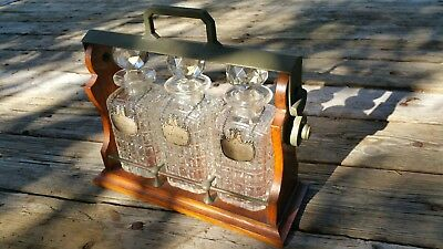 Antique 1905 Tantalus & 3 Crystal Whiskey Decanters With STERLING SILVER TAGS