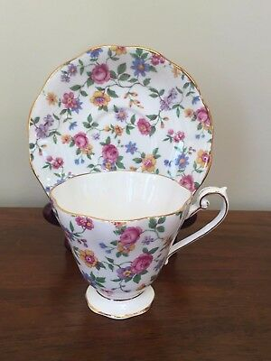 Royal Standard CHINTZ ROSE Floral Footed Cup & Saucer Set  ~ England
