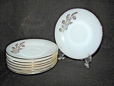 Federal Glass Set of 7 Meadow Gold Milk Glass Saucers