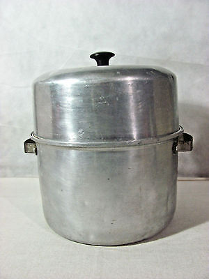 Vintage Aluminum Tall (Canning?) Pan, Rack w/ 7 Holders and Venting Domed Cover