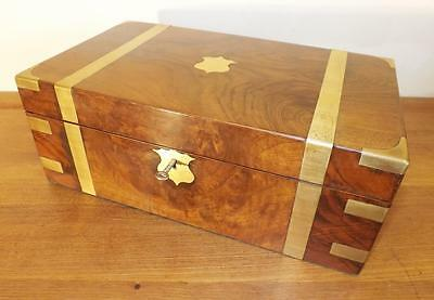 Antique Victorian Large Military Walnut And Brass Writing Slope Box. 1860-1880's