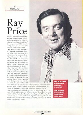"Ray Price, Country Music Star in 2014 Magazine Print Article. ""Pioneers"""