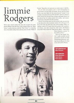 "Jimmie Rodgers, Country Music Star in 2014 Magazine Print Article. ""Pioneers"""