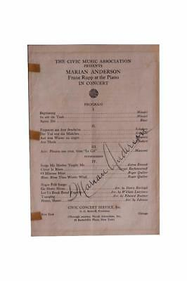 Marian Anderson Signed Concert Program Autograph African Americana Music Opera