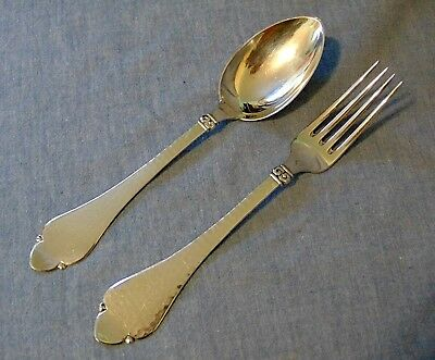 Danish Sterling Silver Flatware Fork Spoon Hand Hammered N V Nielsen Scandanavia
