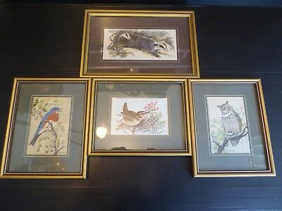 4 x J & J Cash Vintage Woven & Silk Framed Pictures of Birds & Badger England